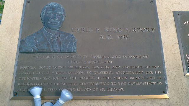 St Thomas Airport plaque for Cyril E. King