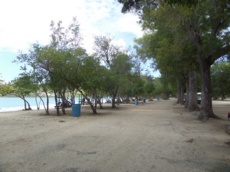 Picnic tables at Magens Bay